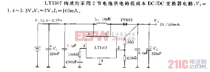 LT1307构成的低成本DC,DC变换器电路图