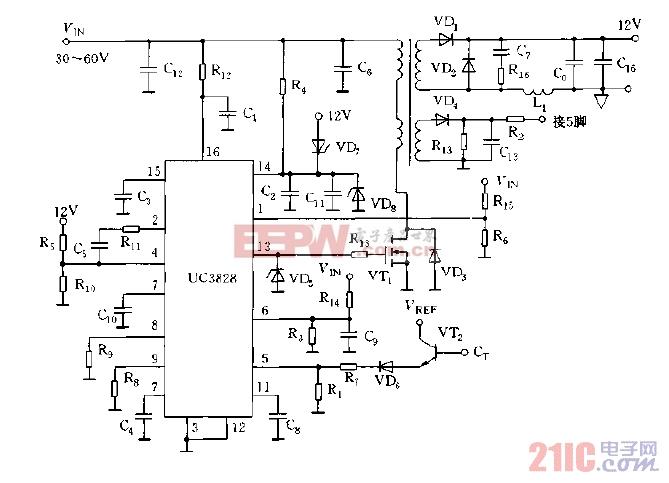采用UC3828构成的DC,DC单端正激式变换器电路图.jpg