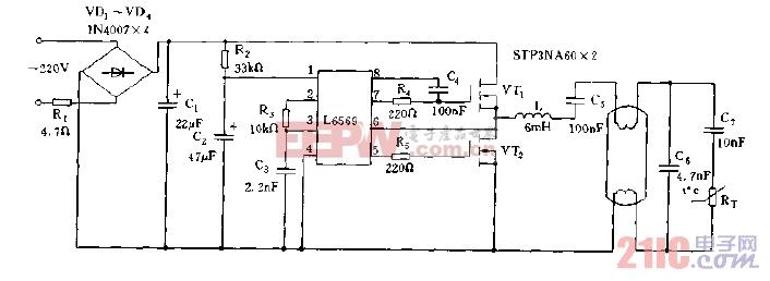 采用L6569构成的电子镇流器电路图.jpg