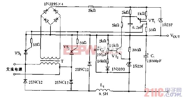 采用晶闸管构成的输出10A电流的稳压电源电路图.jpg