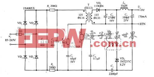 1.5W的AC/DC电源适配器电路图