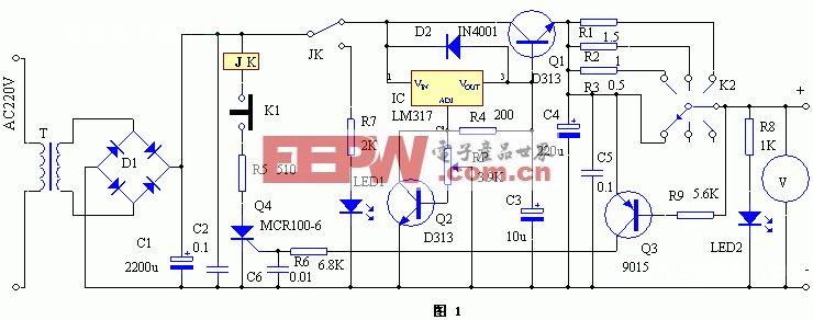 有限流功能的简易可调稳压电源
