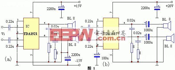 外围元件最少的2×15W功放电路