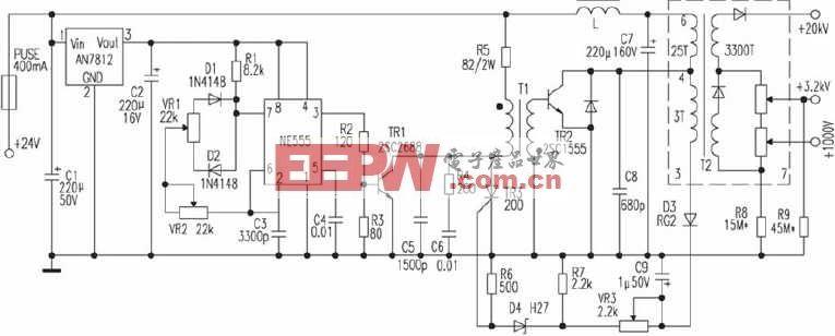 左右/基本原理:NE555构成脉冲发生器,调节电位器VR2可使之产生...
