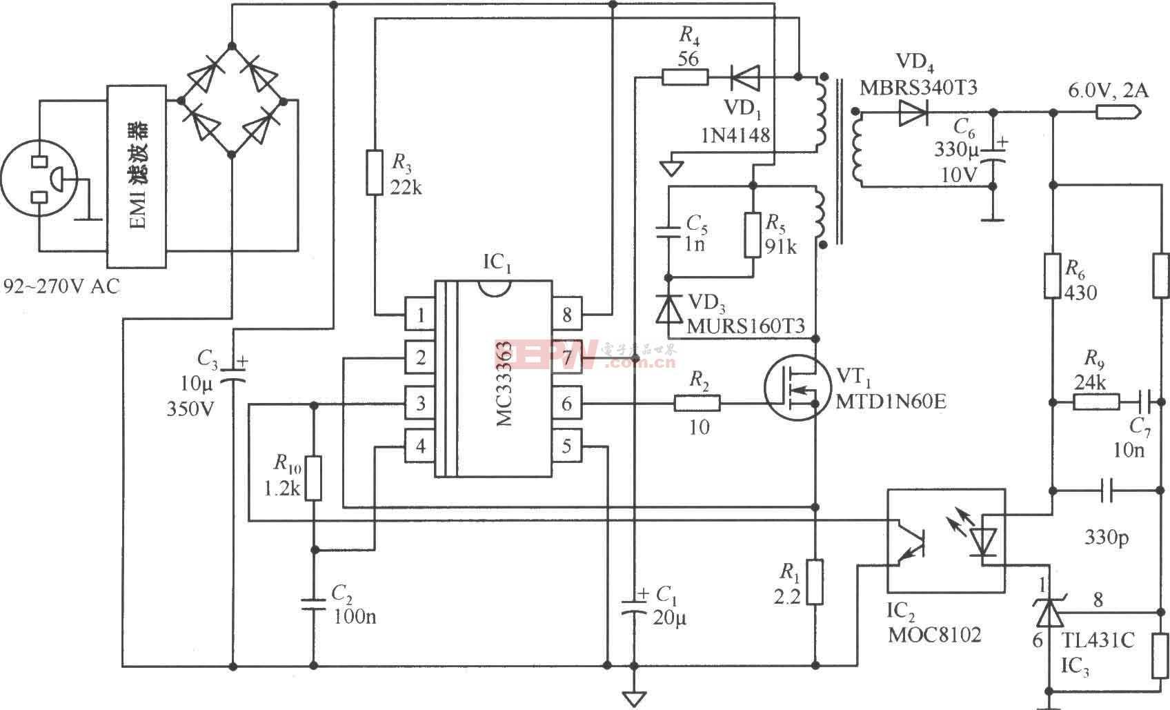 由MC33363构成的6V/2A隔离式开关稳压电源电路