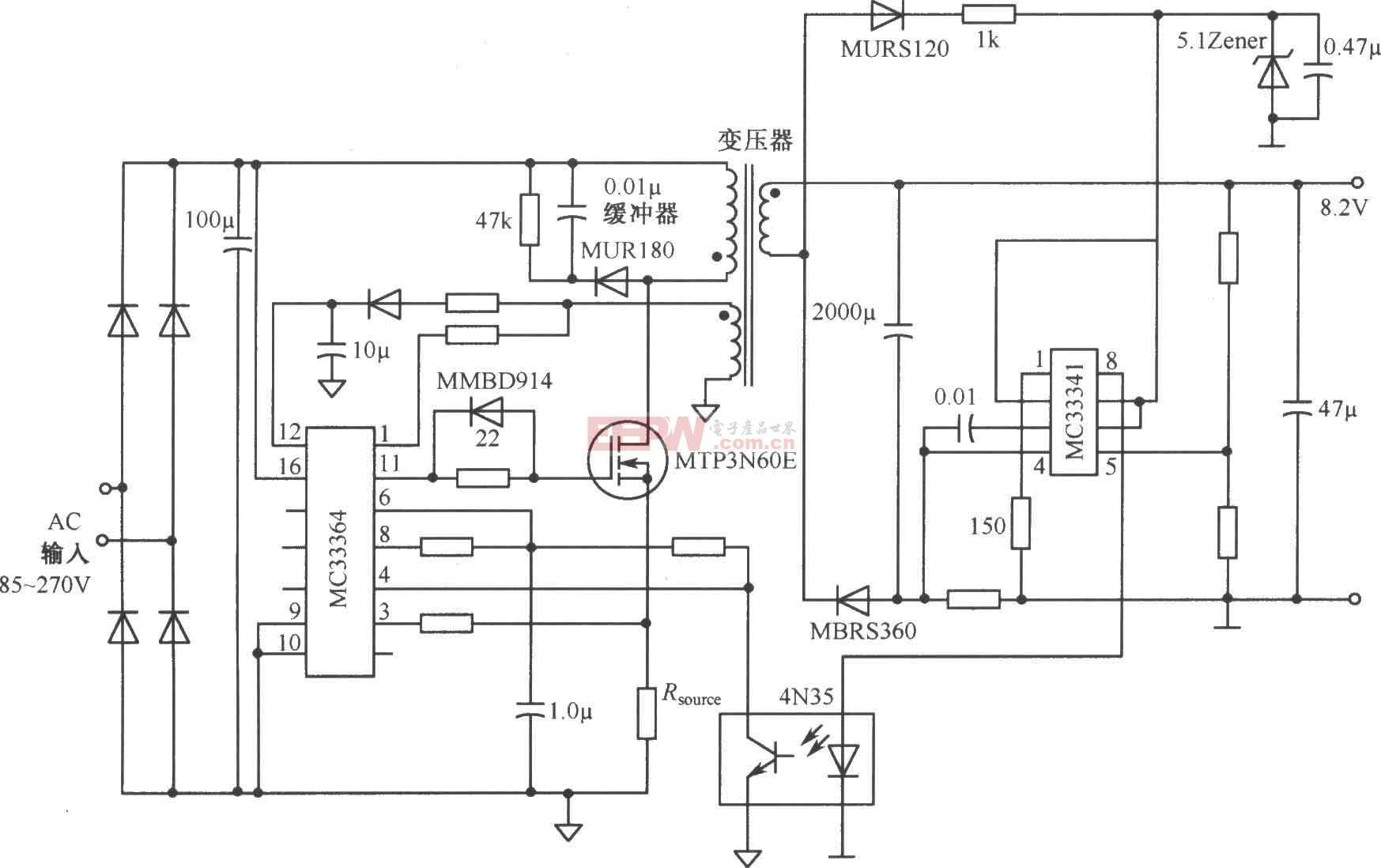 由MC33364构成的8.2V/3A开关直流稳压电源电路