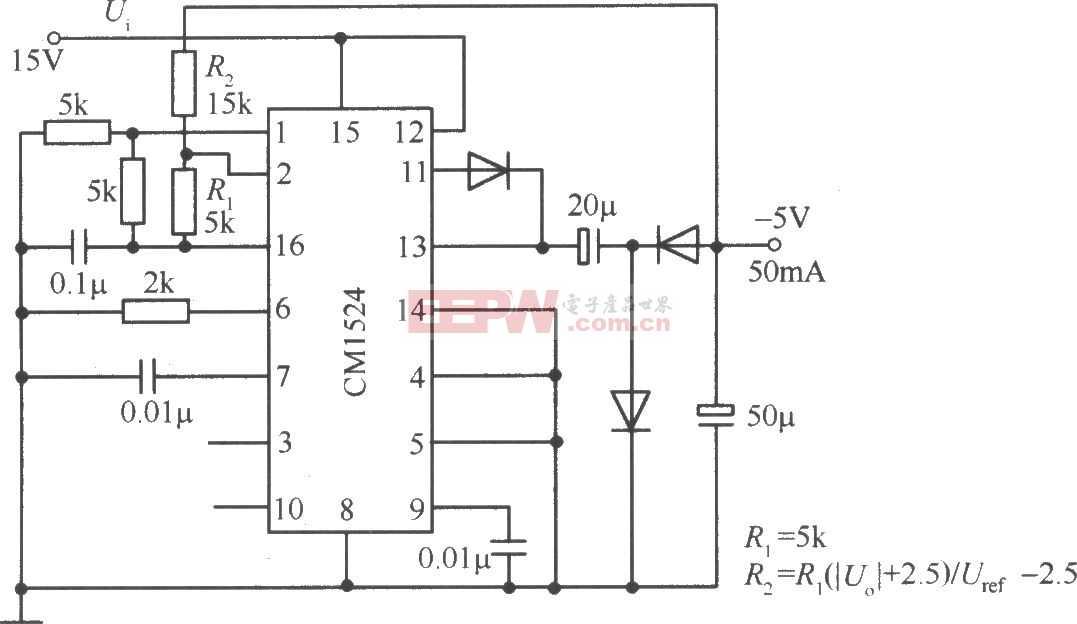 由CW1524组成的降压式斩波开关稳压电源电路