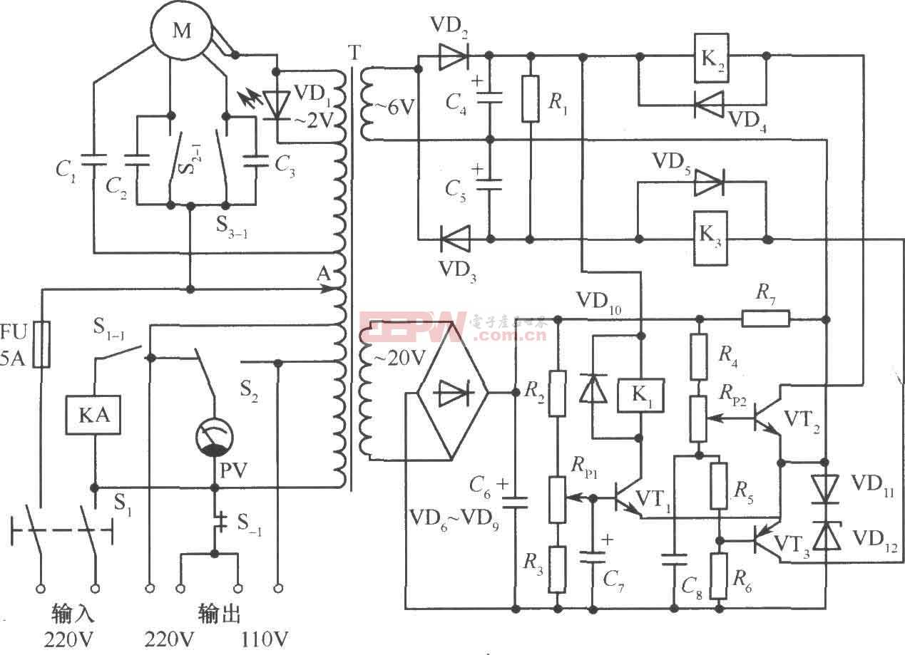 1000W自动调压交流稳压电源电路