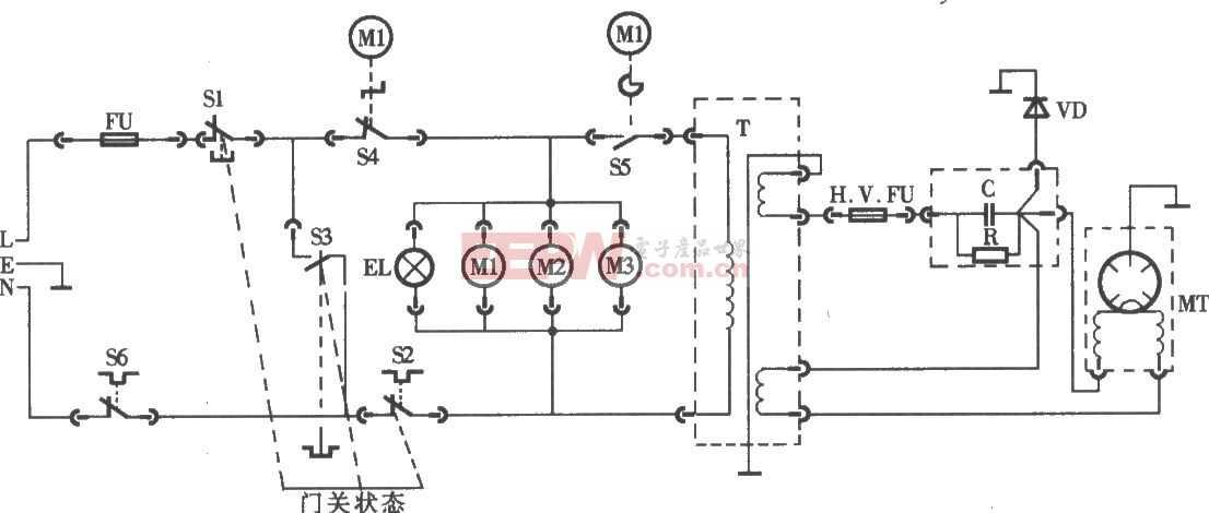 格蘭仕牌WP700型微波爐電路圖