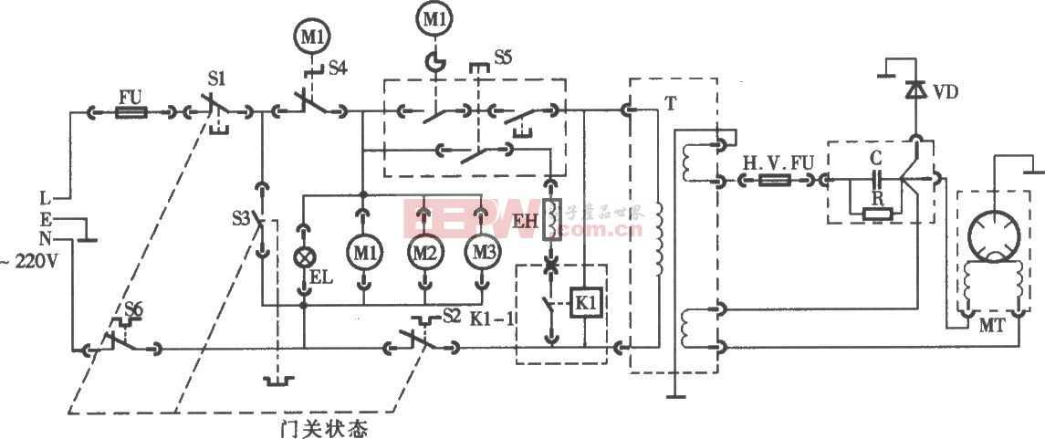 格兰仕牌WD800型烧烤微波炉电路图