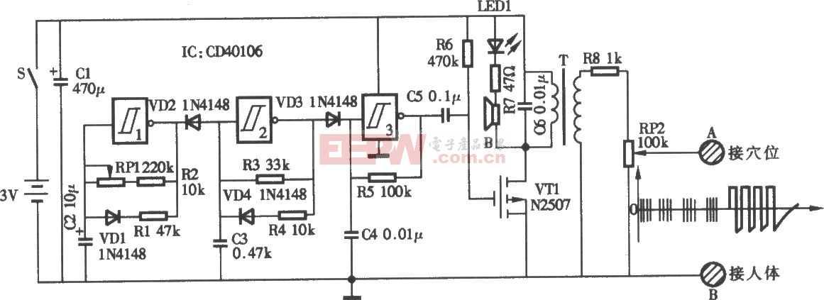 电脉冲治疗电路图