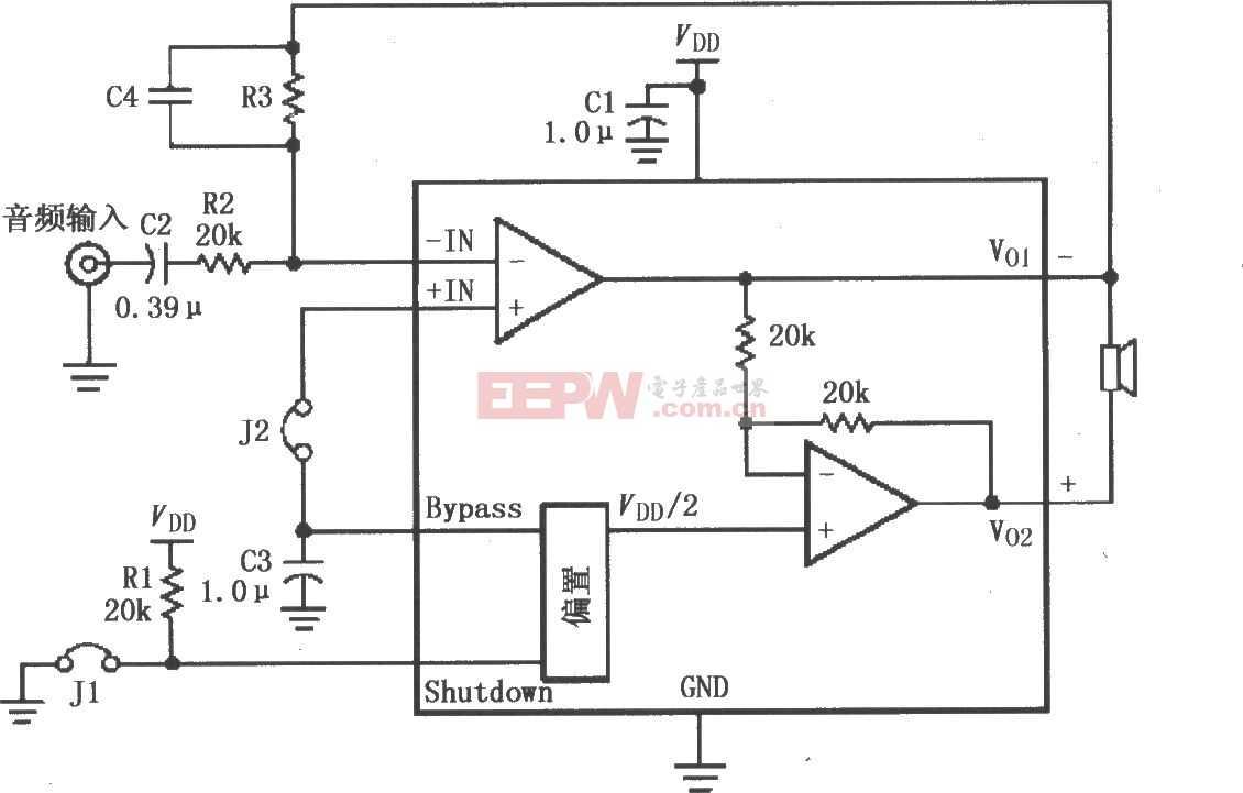 LM4819 高增益音頻放大電路