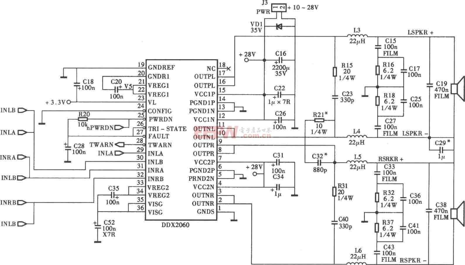 采用DDX2026D35W×2D類功放電路