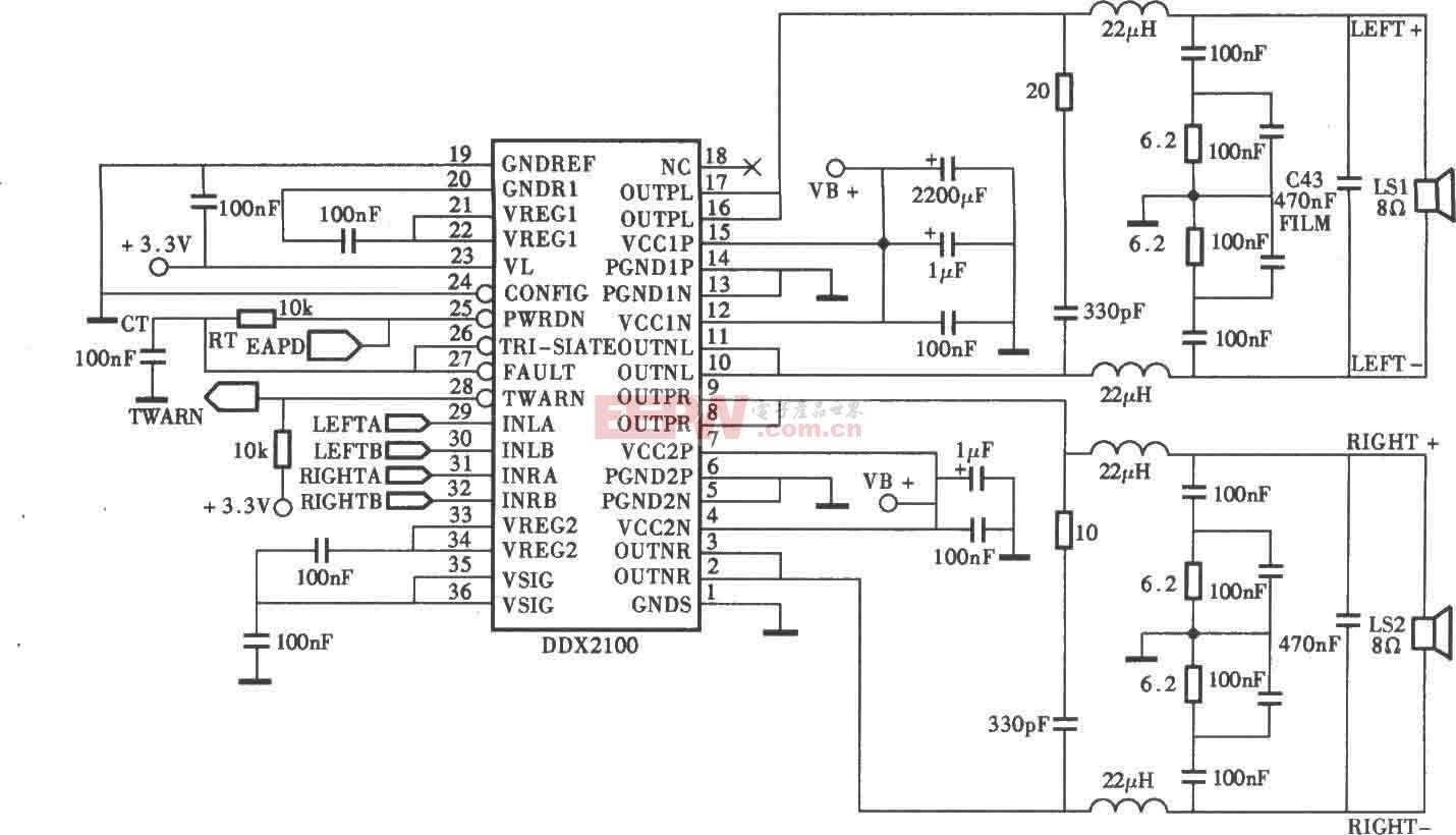 DDX-2100型数字功放电路