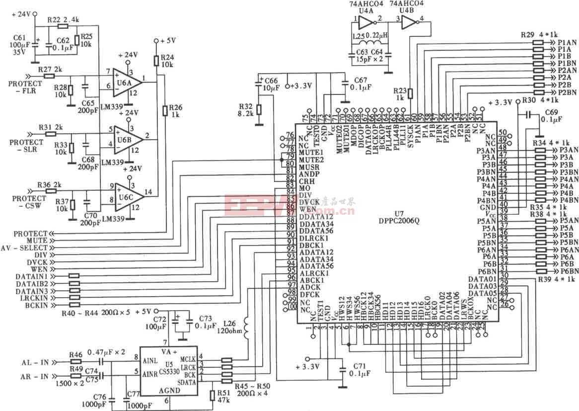 DPPC2006Q六声通数字功放前级信号处理电路电路