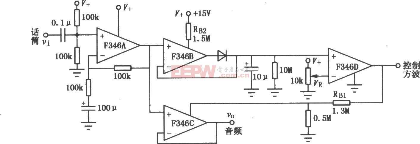 F346构成的程控运放音频启动开关放大电路