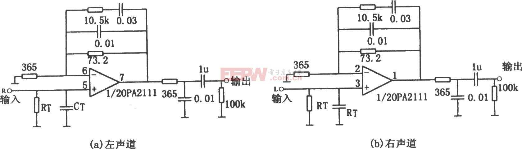 OPA2111构成的均衡立体声前置放大电路