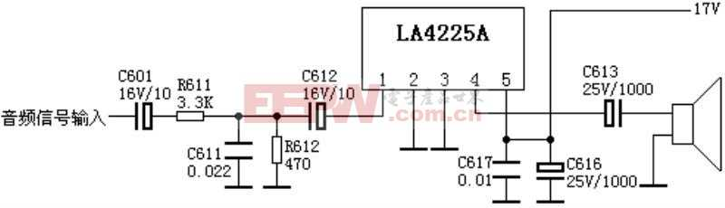 伴音电路:LA4225A