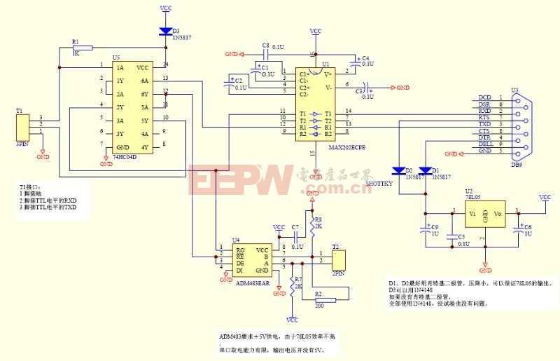 RS232-TTl-RS485转接口电路
