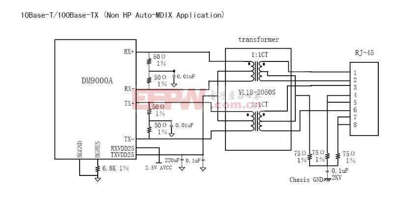 DM9000网络Ethernet接口电路图