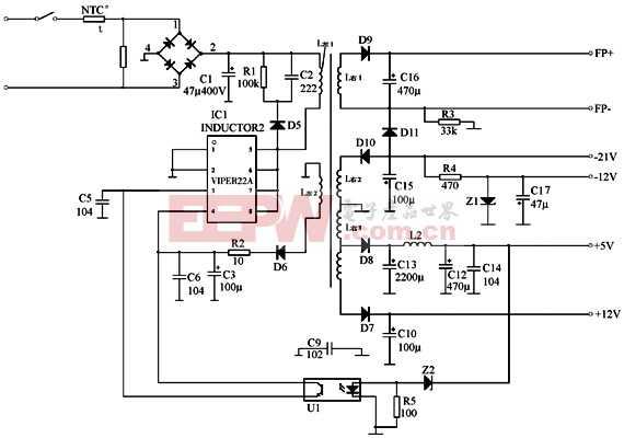 dvd机 viper 22 a开关电源 工作原理分析 电路图 高清图片