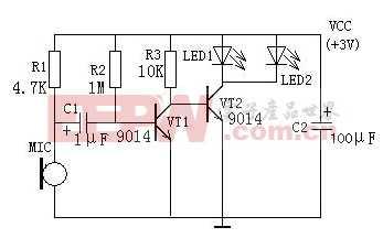 声控闪光LED灯电路图