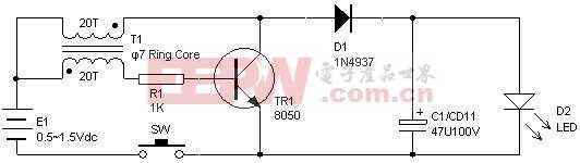 1.5V LED手电筒制作电路图