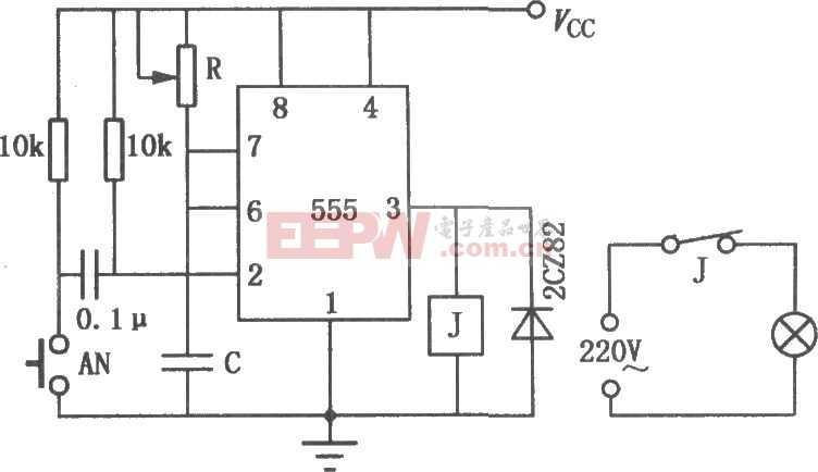 555组成的印相定时电路图