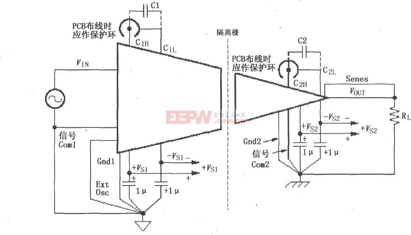 ISO120/121的 信号与电源的基本连接电路图
