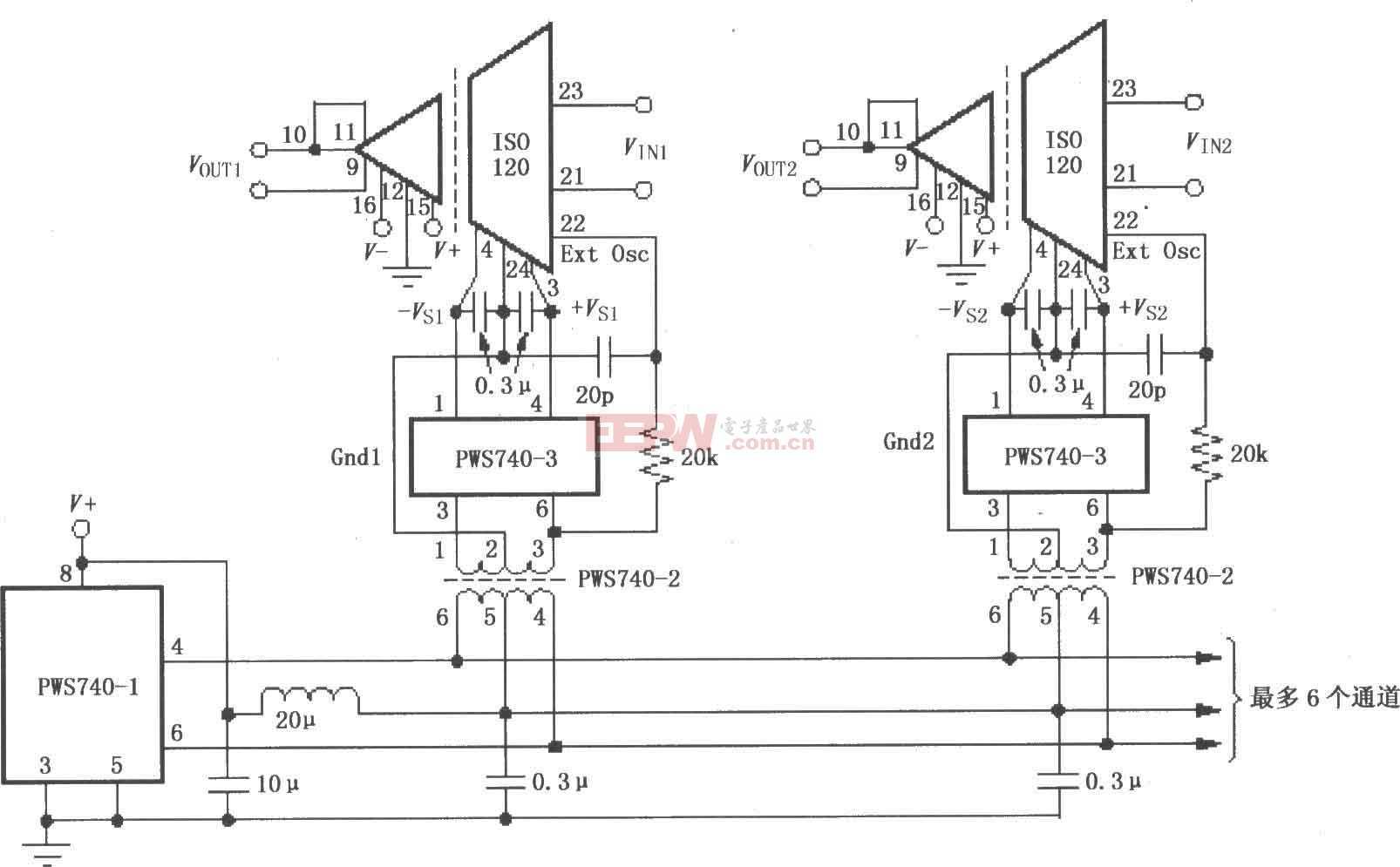 ISO120与PWS740构成的多通道同步隔离系统电路