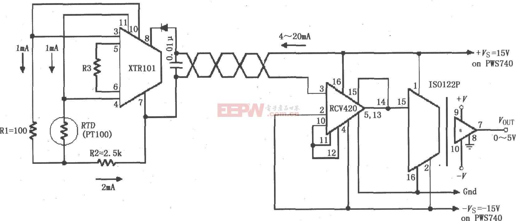 检测4~20mA环路仪器放大电路图(ISO122P/124、XTR101、RCV420)