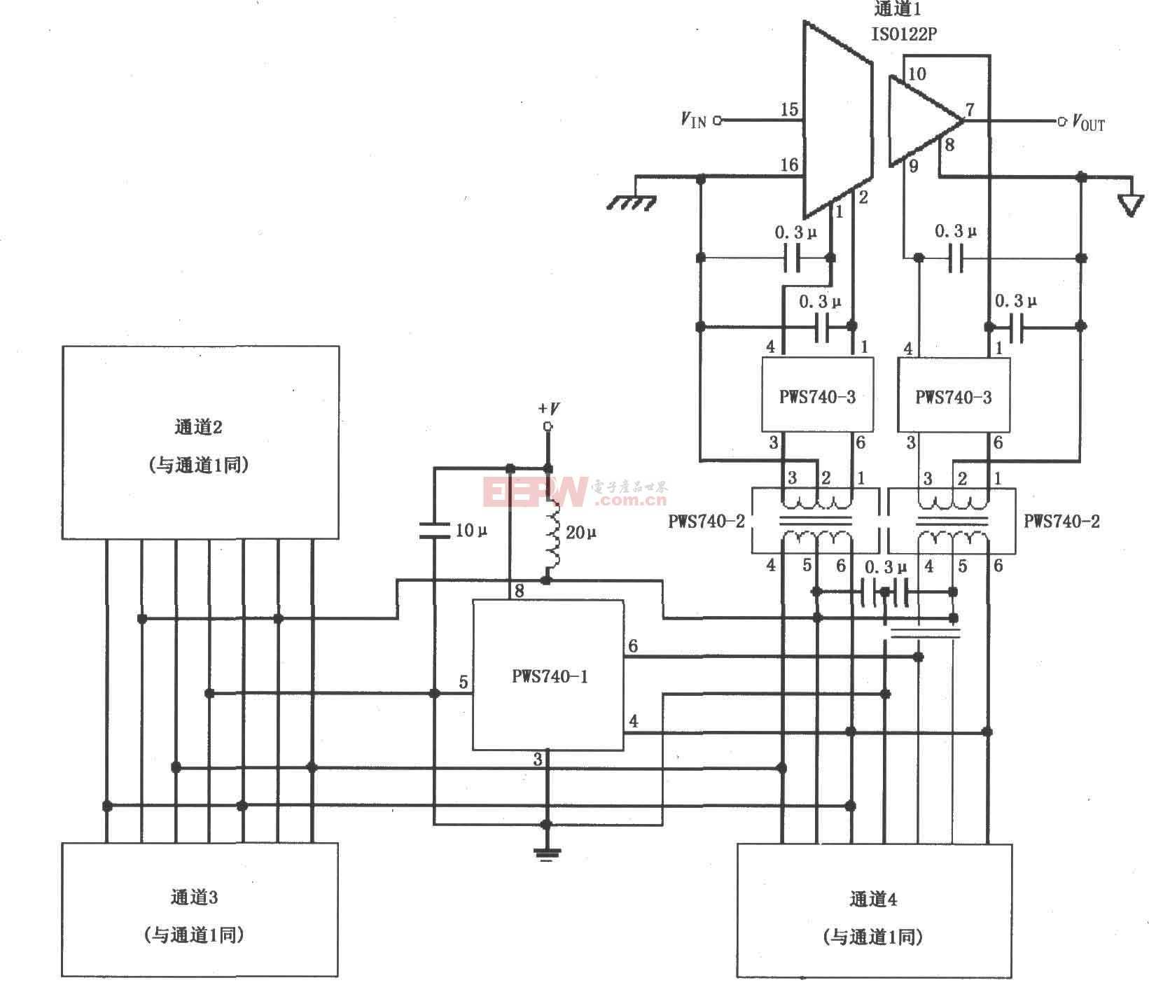 ISO122的低成本三端口、四通道隔离式数据采集系统电路图