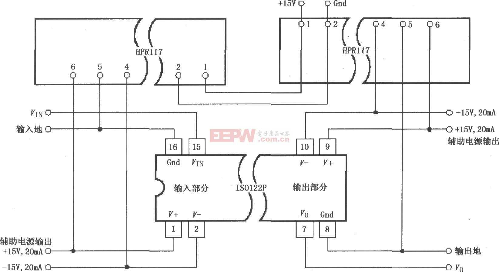 ISO122P/124具有三端口的电源隔离放大电路图