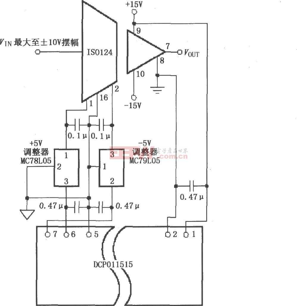 提高电源抑制比(PSR)电路图(ISO124)