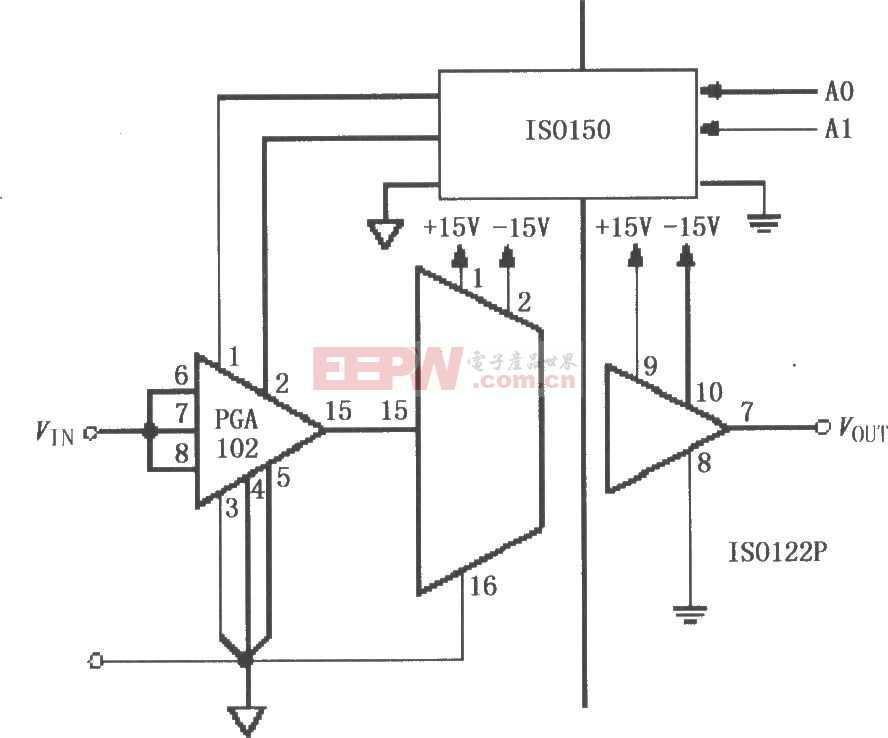 ISO122/124与PGA102、ISO150构成的具有增益可编程的隔离通道电路图