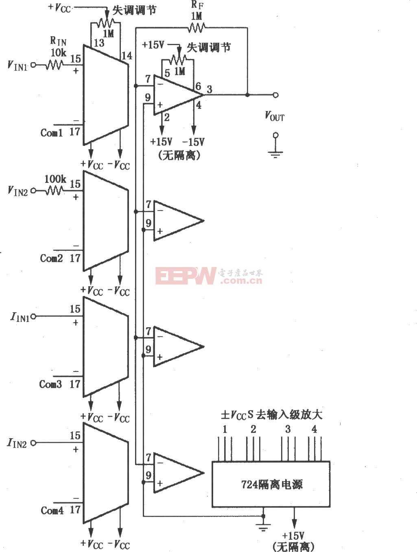 由4片ISO100构成的四通道隔离加法放大电路图