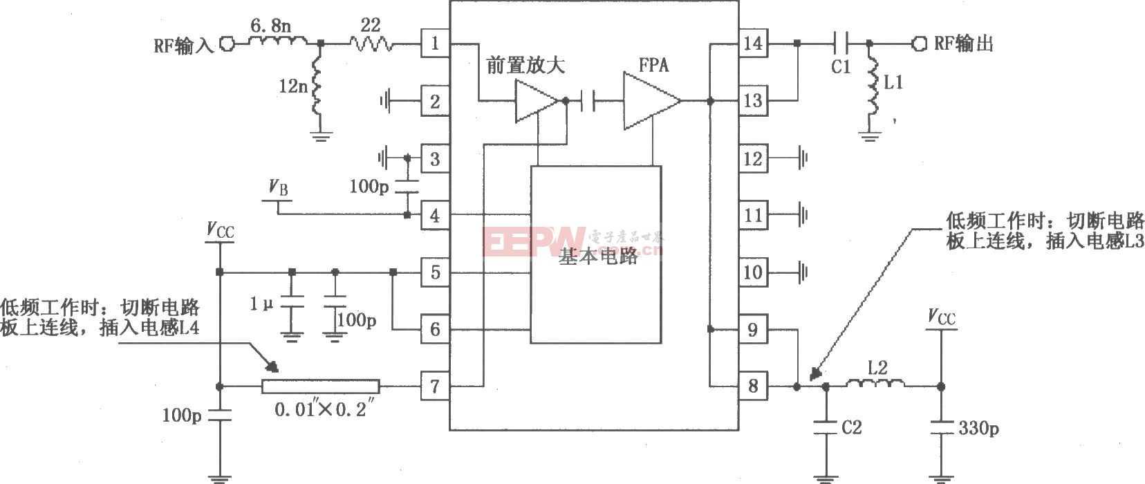 RF2103P构成的射频放大器原理电路图