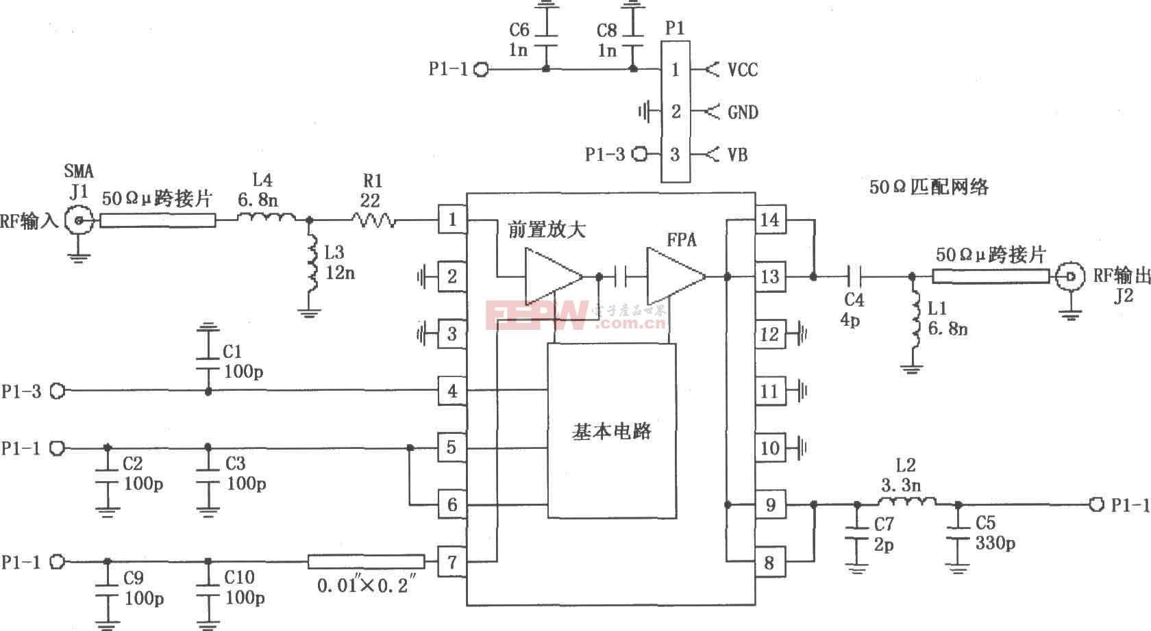 RF2103P构成的915MHz射频放大器的电路图