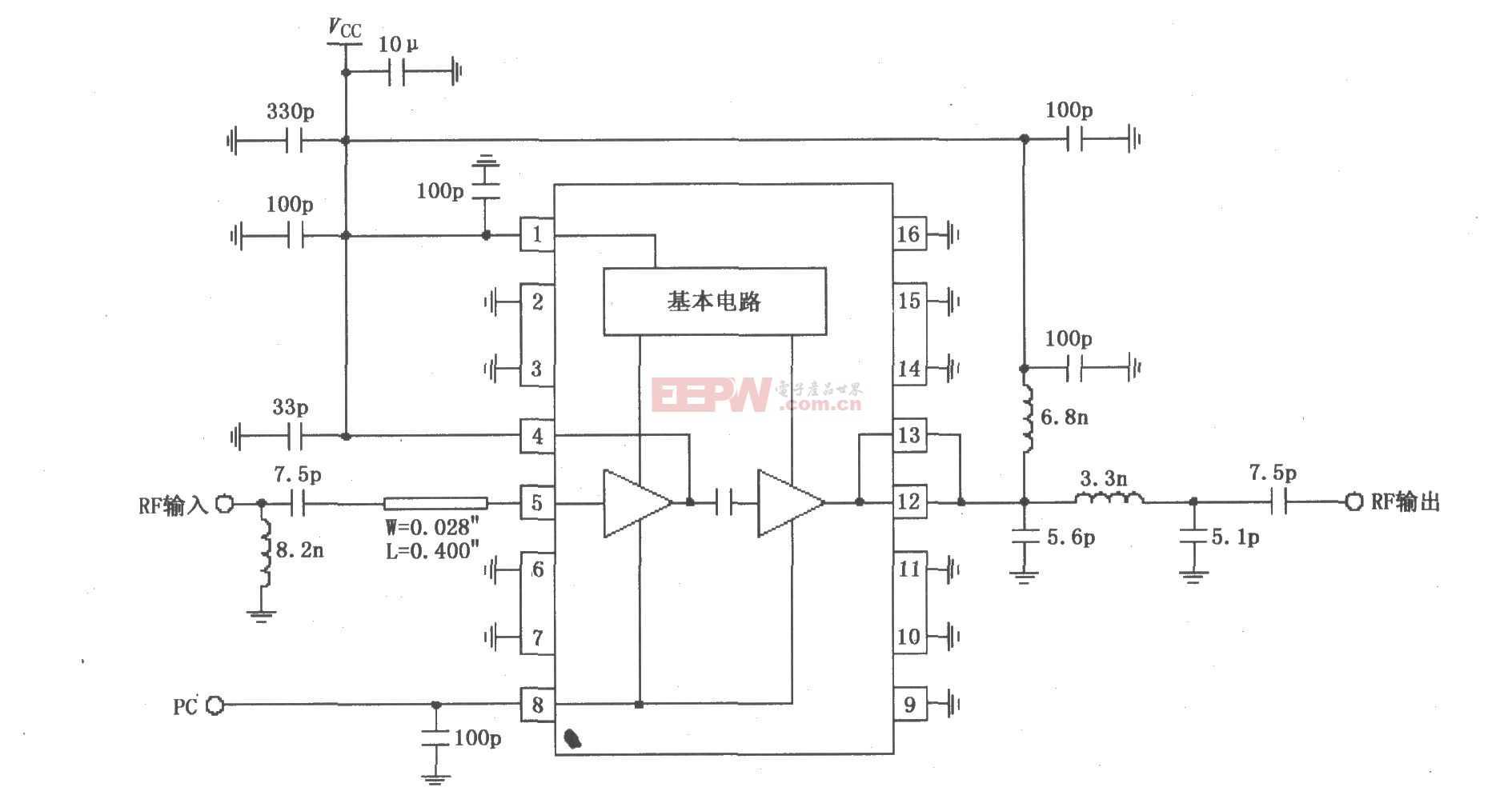 RF2104构成的915MHz中功率放大器原理电路图