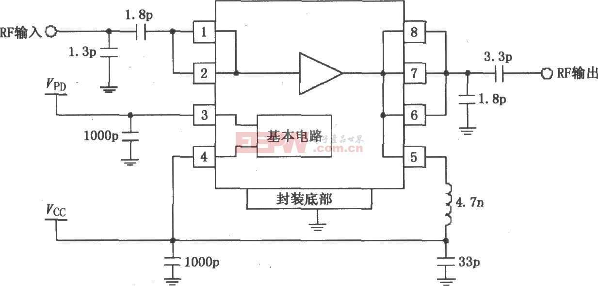 RF2126构成的2450MHz末级大功率线性放大器电路图