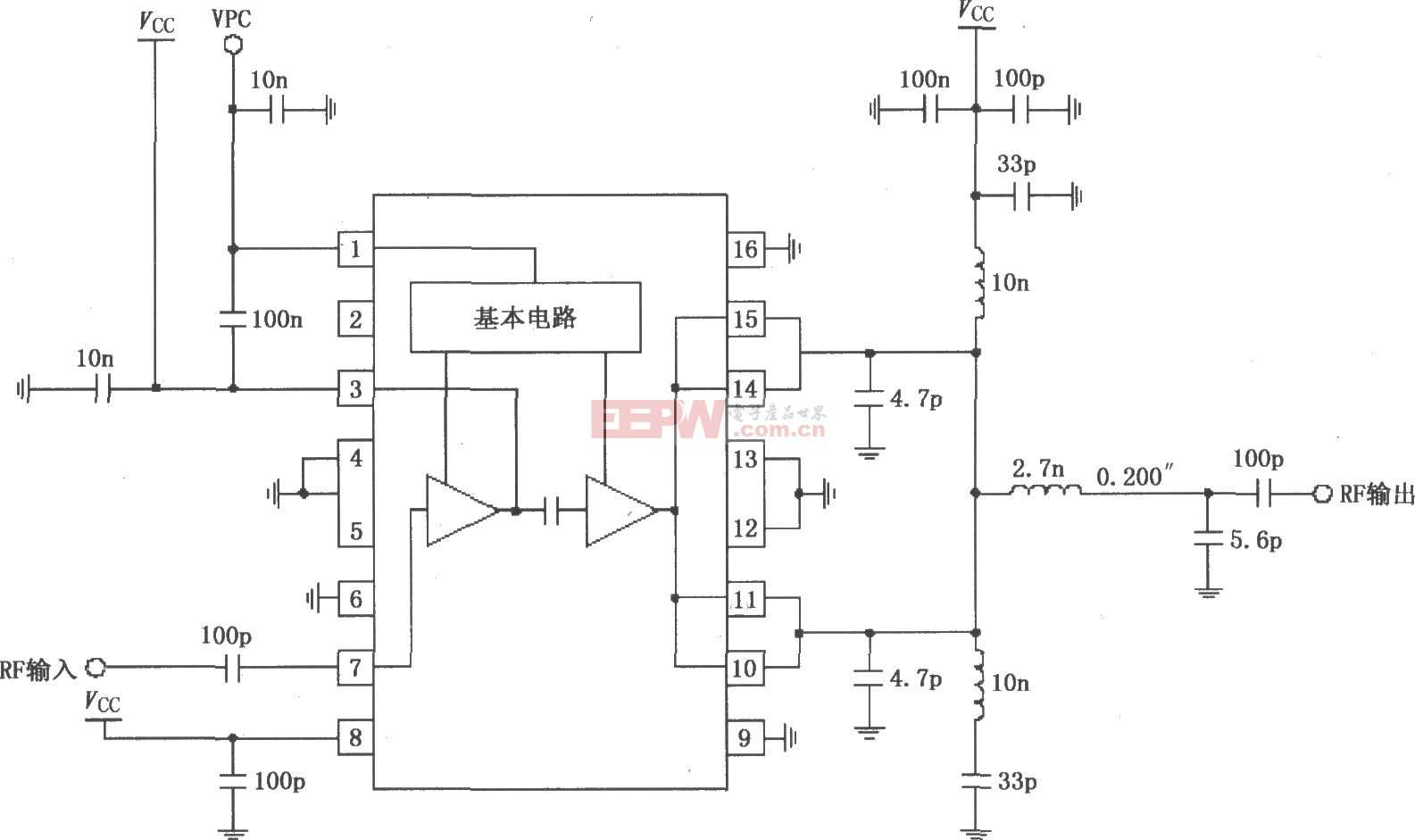 RF2131在4.8V電源供電時的最佳效率功率放大電路圖