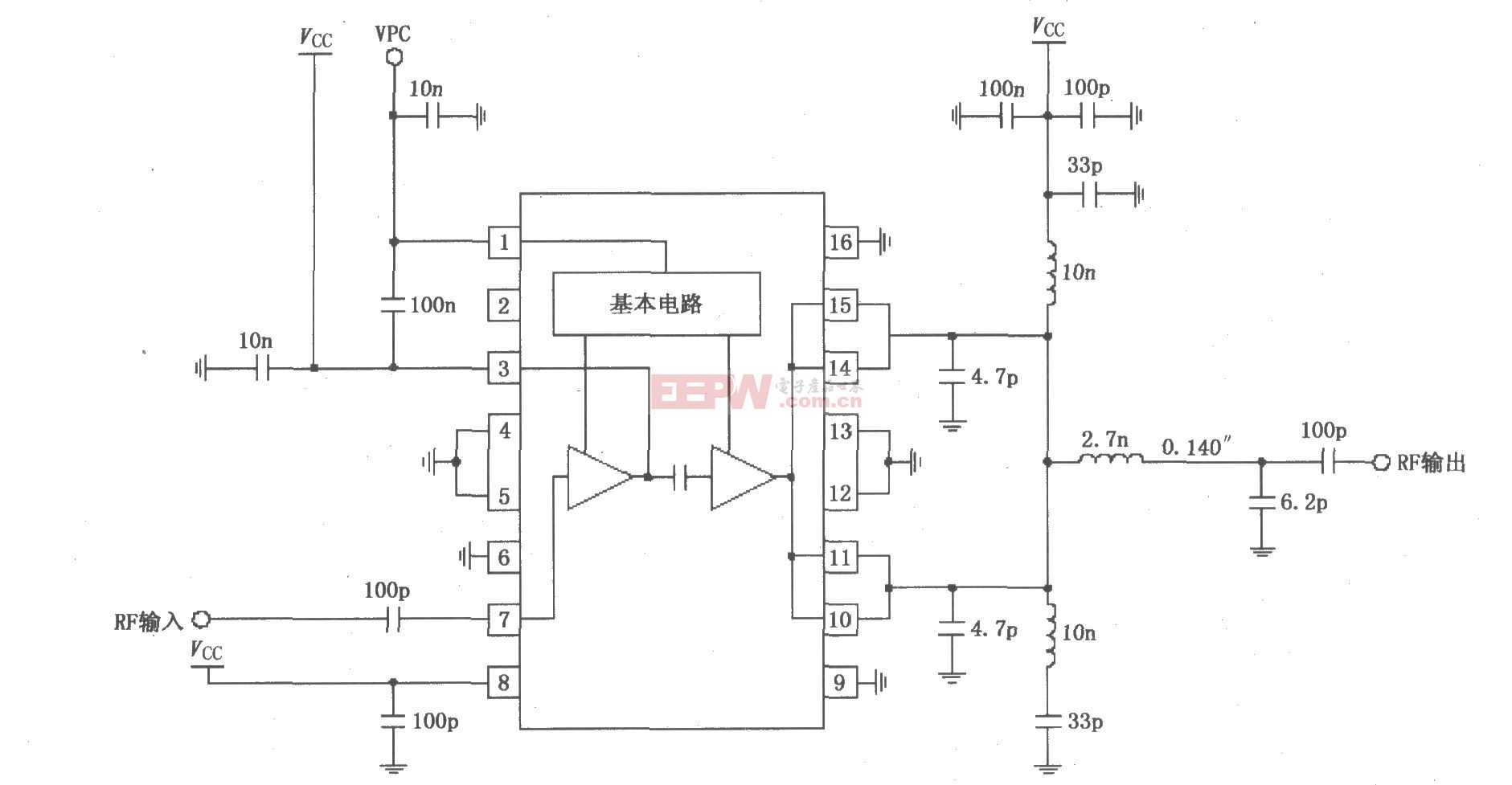 RF2131在4.0~4.8V电源供电时获得最佳功率和效率放大器电路图