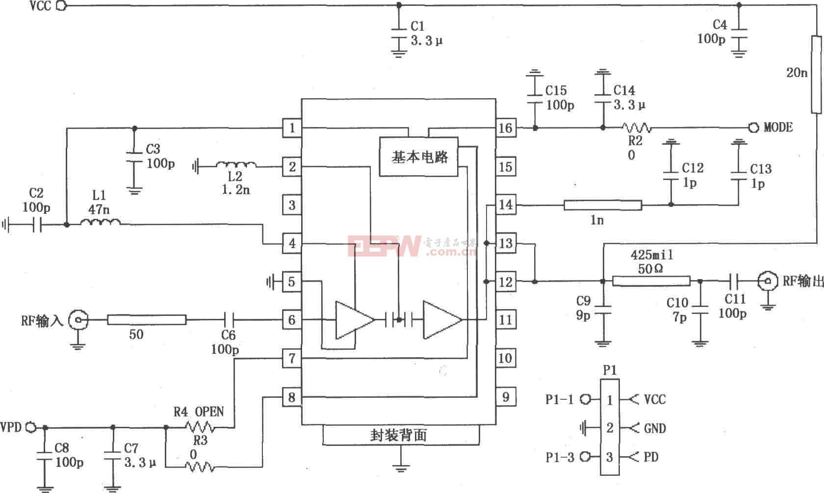 RF2152构成的824~849MHz功率放大电路图