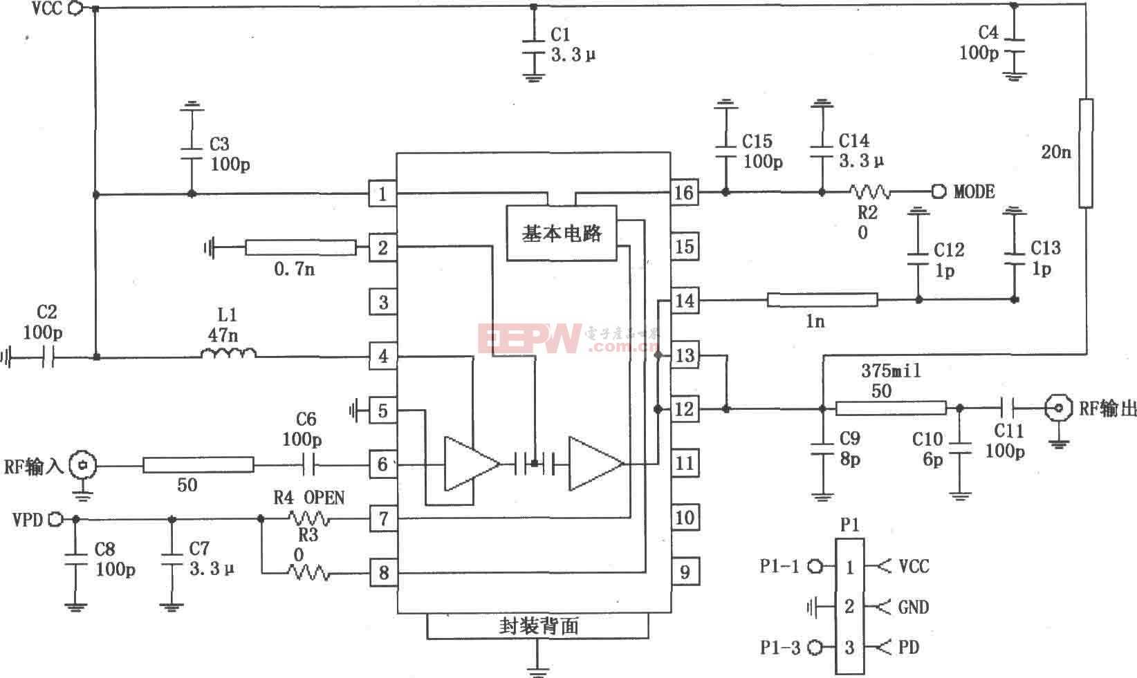RF2152构成的877~924MHz功率放大电路图