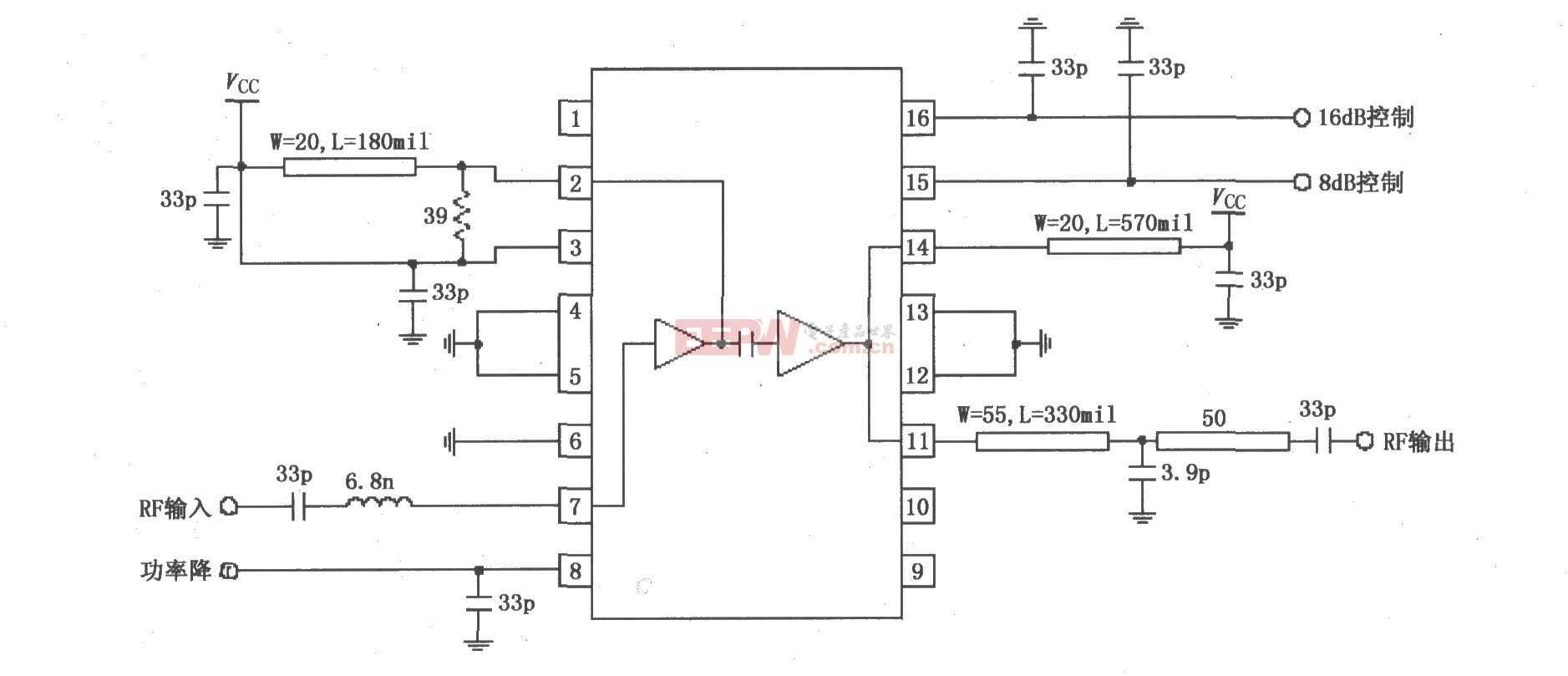 RF2155构成的915MHz功率放大器应用电路图
