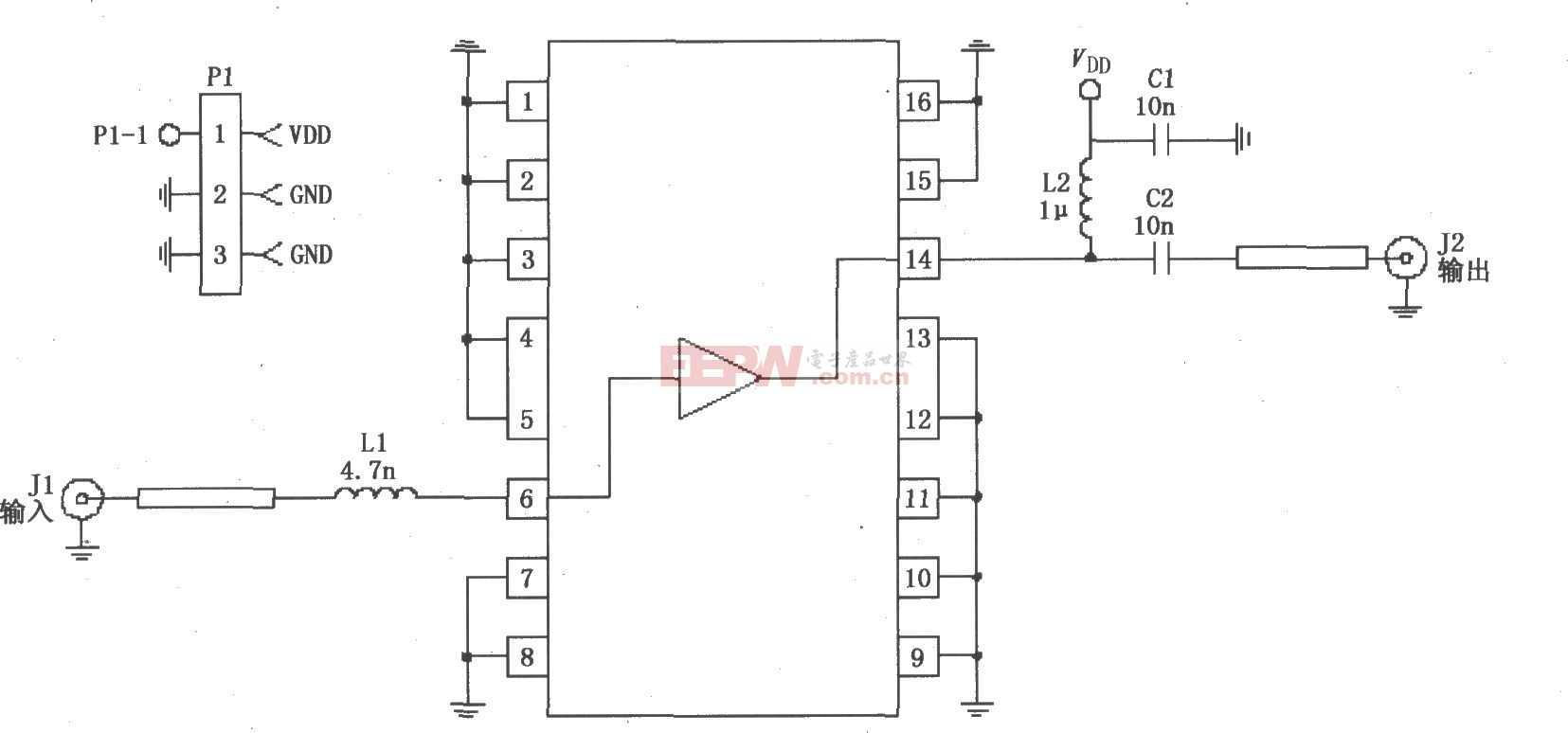 RF2320构成的50Ω阻抗线性放大电路图