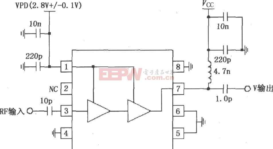RF2324构成的1880MHz内部集电极偏置放大器应用电路图