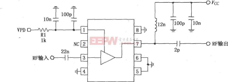 RF2347构成的880MHz低噪声放大器应用电路图