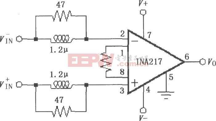INA217的输入稳定网络电路图