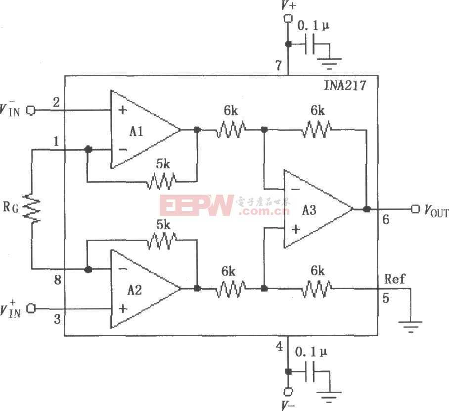 INA217信号和电源的基本连接电路图